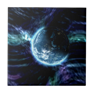 Spectacular Space Starry Aurora Nebula Small Square Tile