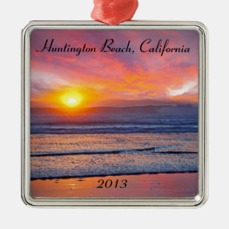 Spectacular Sunset at Huntington Beach Christmas Ornament