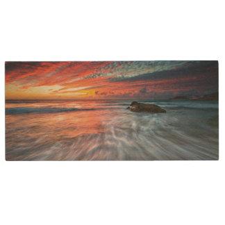 Spectacular Sunset | Stone Beach, El Wood USB Flash Drive
