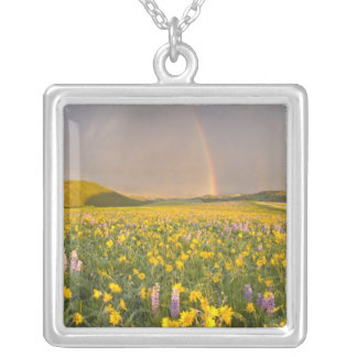 Spectacular wildflower meadow at sunrise in 2 square pendant necklace