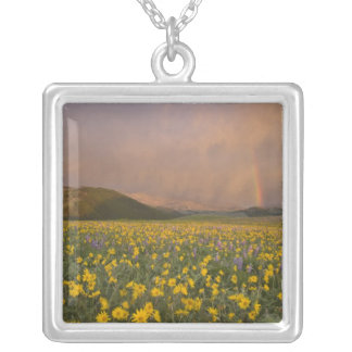 Spectacular wildflower meadow at sunrise in square pendant necklace