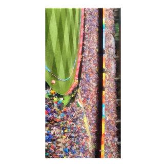 Spectators in a stadium custom photo card