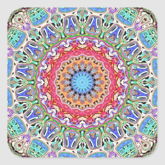 Spectral Concentric Pattern Square Sticker