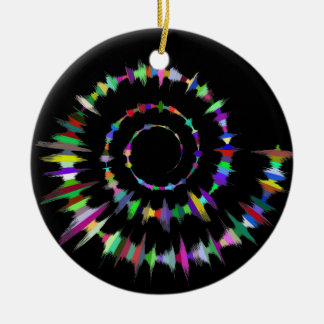 Spectrum Color Spiral Circle Ceramic Ornament