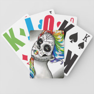 Spectrum Series - Rainbow Sugar Skull Girl Bicycle Playing Cards