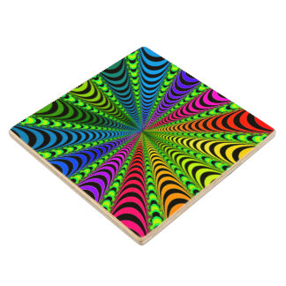 SPECTRUM Spiral, Visual Illusion, Rainbow / Green Wood Coaster