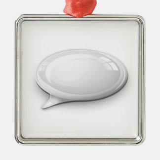 Speech bubble white and glossy christmas ornament