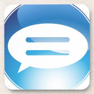 Speech Communication Bubble Blue Button Drink Coasters