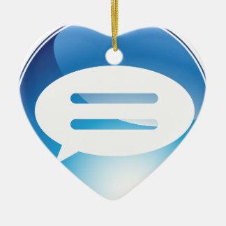 Speech Communication Bubble Blue Button Double-Sided Heart Ceramic Christmas Ornament