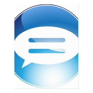 Speech Communication Bubble Blue Button Postcard