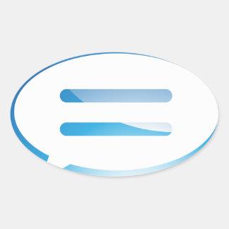 Speech Communication Bubble Blue Button Oval Sticker