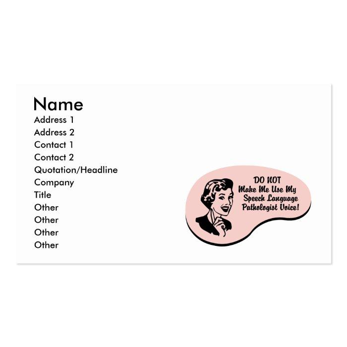Speech-Language Pathologist Voice Pack Of Standard Business Cards