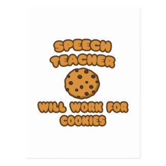 Speech Teacher  .. Will Work for Cookies Postcard