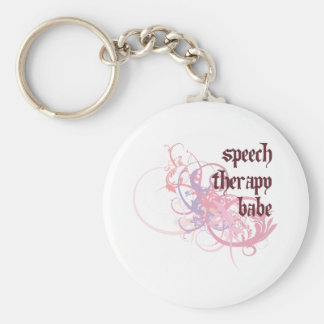 Speech Therapy Babe Basic Round Button Key Ring