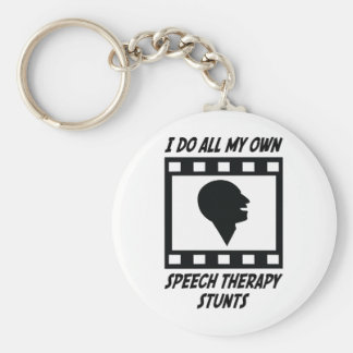 Speech Therapy Stunts Basic Round Button Key Ring