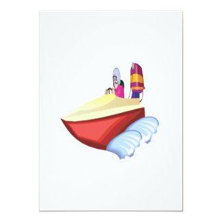 Speed Boat 13 Cm X 18 Cm Invitation Card