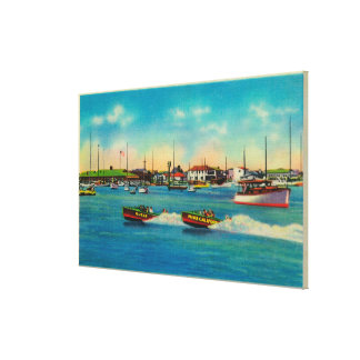 Speed Boating in Balboa, CaliforniaBalboa, CA Canvas Print