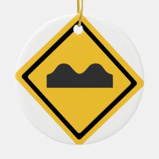 Speed Bumps Symbol Round Ceramic Decoration