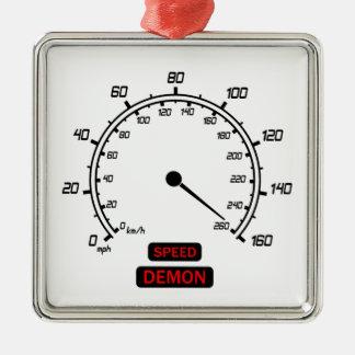 Speed Demon Silver-Colored Square Decoration
