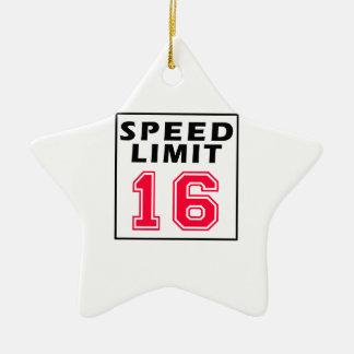Speed limit 16 birthday designs christmas ornament