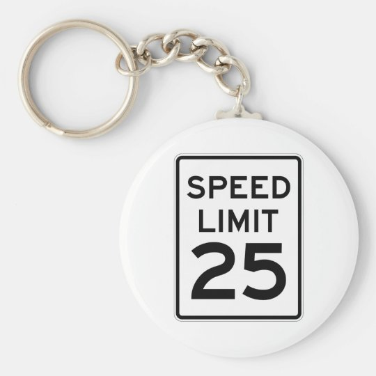 Speed Limit 25 MPH Sign Basic Round Button Key Ring