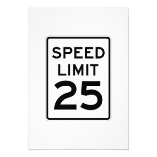 Speed Limit 25 MPH Sign Personalized Invitation