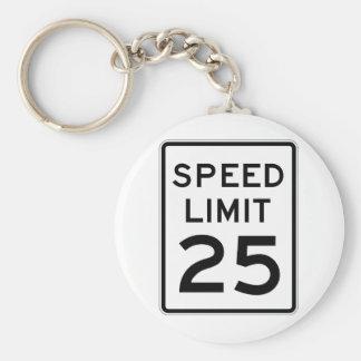 Speed Limit 25 Street Sign Basic Round Button Key Ring