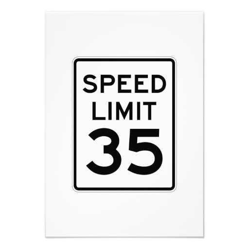 Speed Limit 35 MPH Sign Personalized Invite