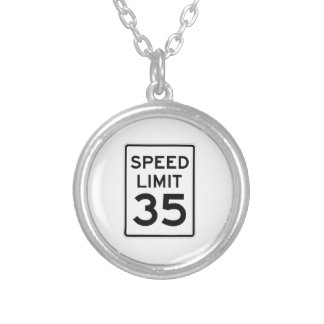 Speed Limit 35 MPH Sign Necklace