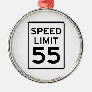 Speed Limit 55 MPH Sign Silver-Colored Round Decoration