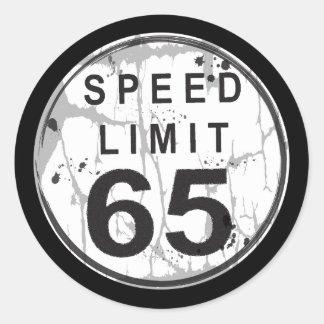 Speed Limit 65 Grungy Sticker