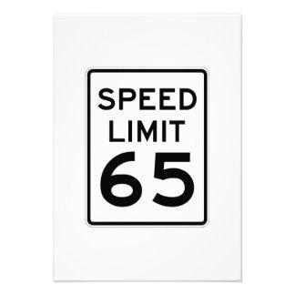Speed Limit 65 MPH Sign Custom Invitations