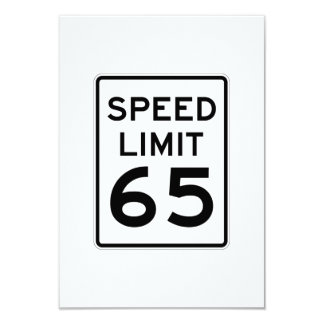 Speed Limit 65 MPH Sign 3.5x5 Paper Invitation Card