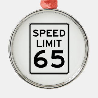 Speed Limit 65 MPH Sign Silver-Colored Round Decoration