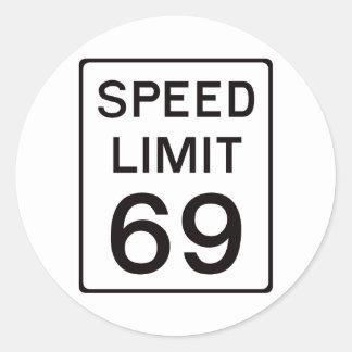 Speed Limit 69 Round Sticker