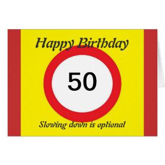 Speed Limit  birthday card 50th