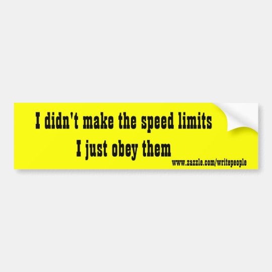 speed limit bumper stickers