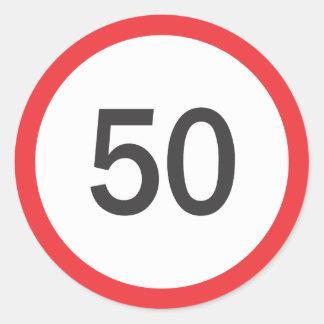 Speed limit fifty round sticker