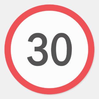 Speed limit thirty classic round sticker