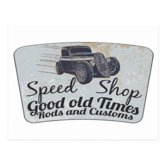 Speed shop logo post cards