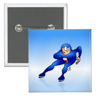 Speed skater 15 cm square badge
