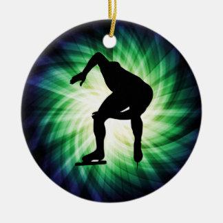 Speed Skater Gift Round Ceramic Decoration