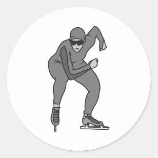 speed skater graphic greys round sticker