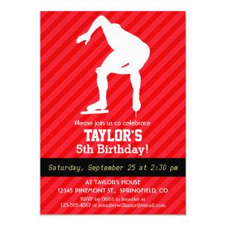 Speed Skater; Scarlet Red Stripes 13 Cm X 18 Cm Invitation Card