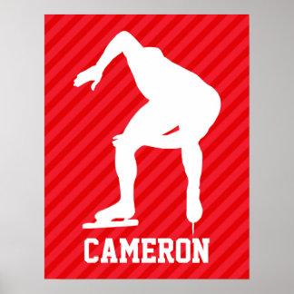 Speed Skater; Scarlet Red Stripes Poster