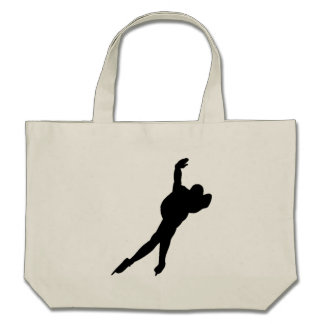 Speed Skater Silhouette Tote Bags
