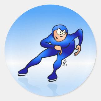 Speed skater round sticker