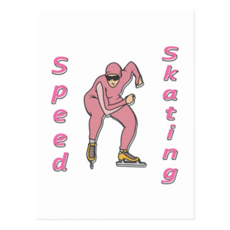 Speed Skating pink Postcard