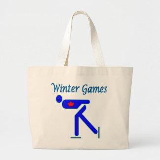 Speed Skating Winter Games Tote Bags