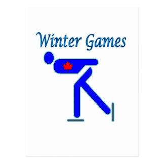 Speed Skating Winter Games Postcard